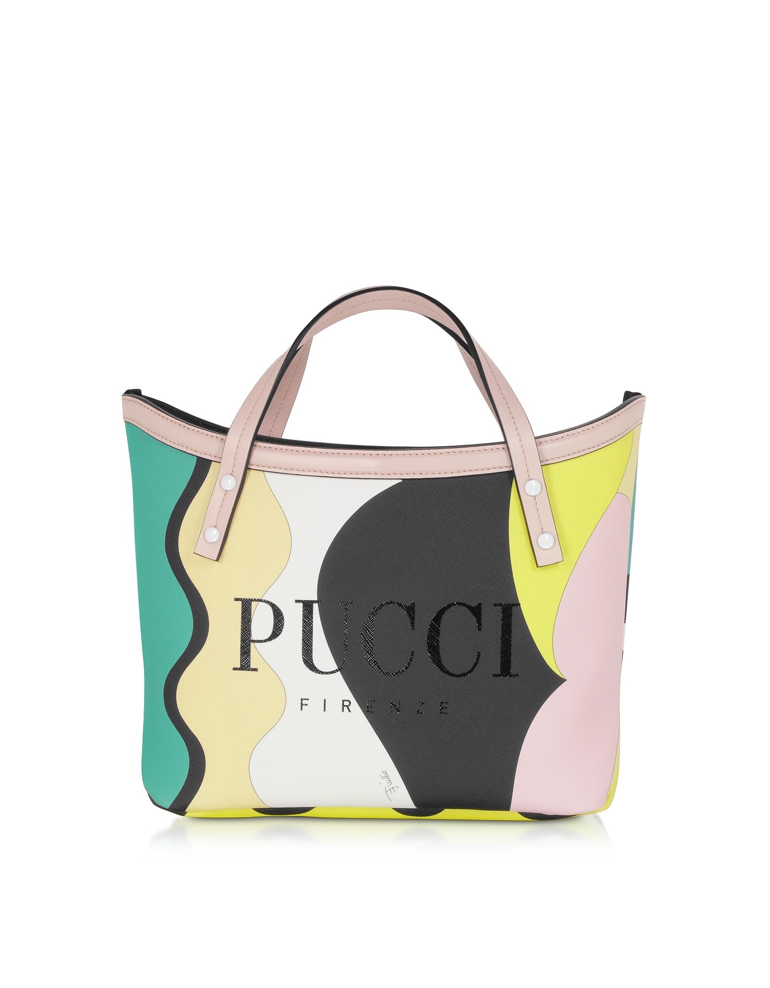 Emilio Pucci Designer Handbags, Two Tone Coated Canvas Tote Bag