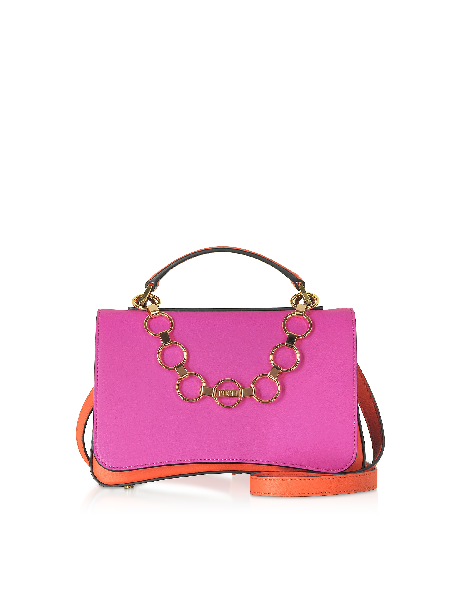Chance Chain Color Block Leather Satchel Bag