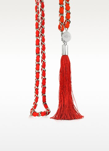 Red Fabric and Metal Chain Belt w/Tassel - Emilio Pucci