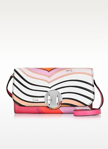 Red and Raspberry Signature Print Leather Wallet w/Shoulder Strap - Emilio Pucci