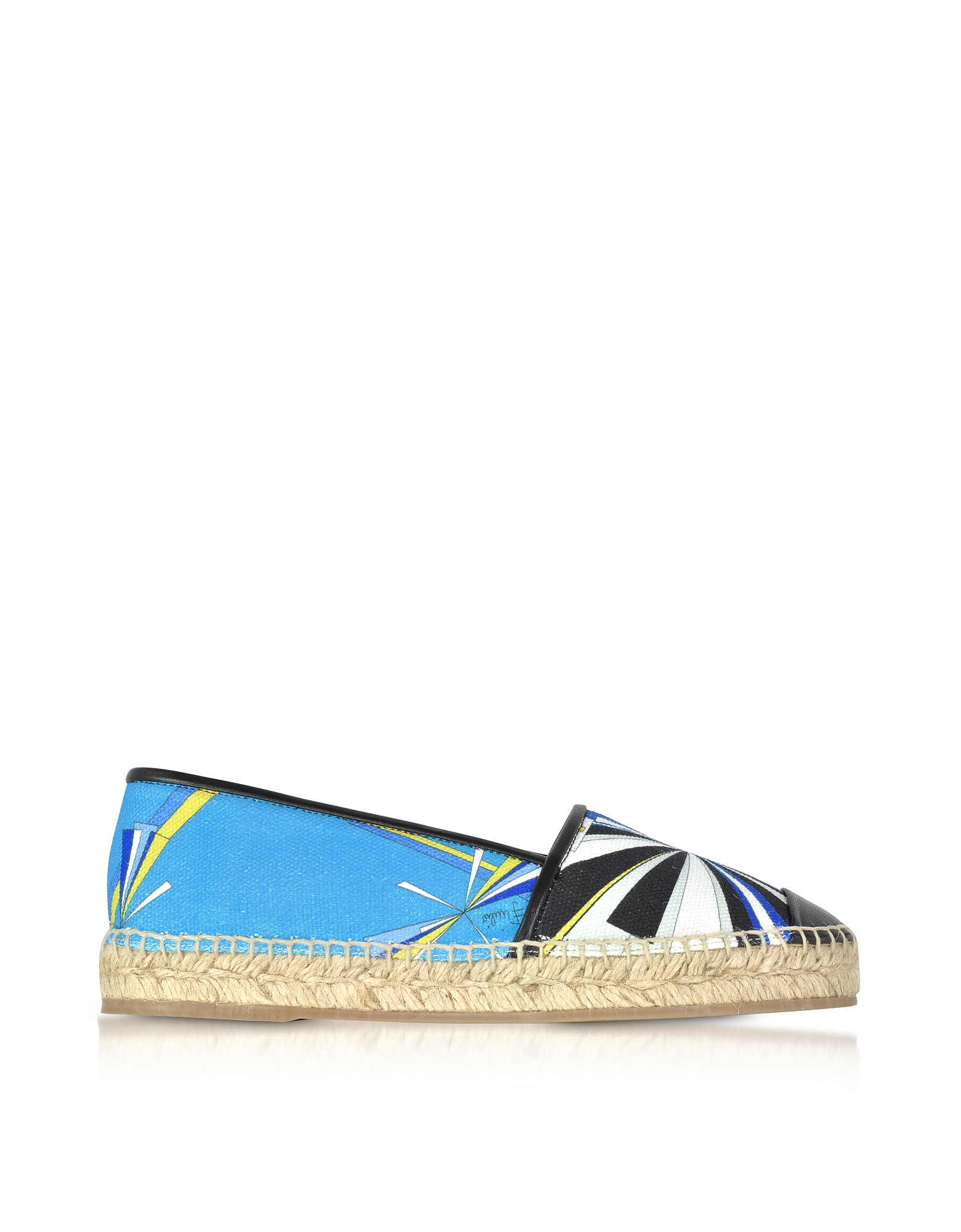 Emilio Pucci Shoes, Turquoise Printed Cotton and Leather Espadrilles