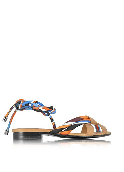 Navy, Sky Blue and Mandarin Silk and Leather Flat Sandal - Emilio Pucci