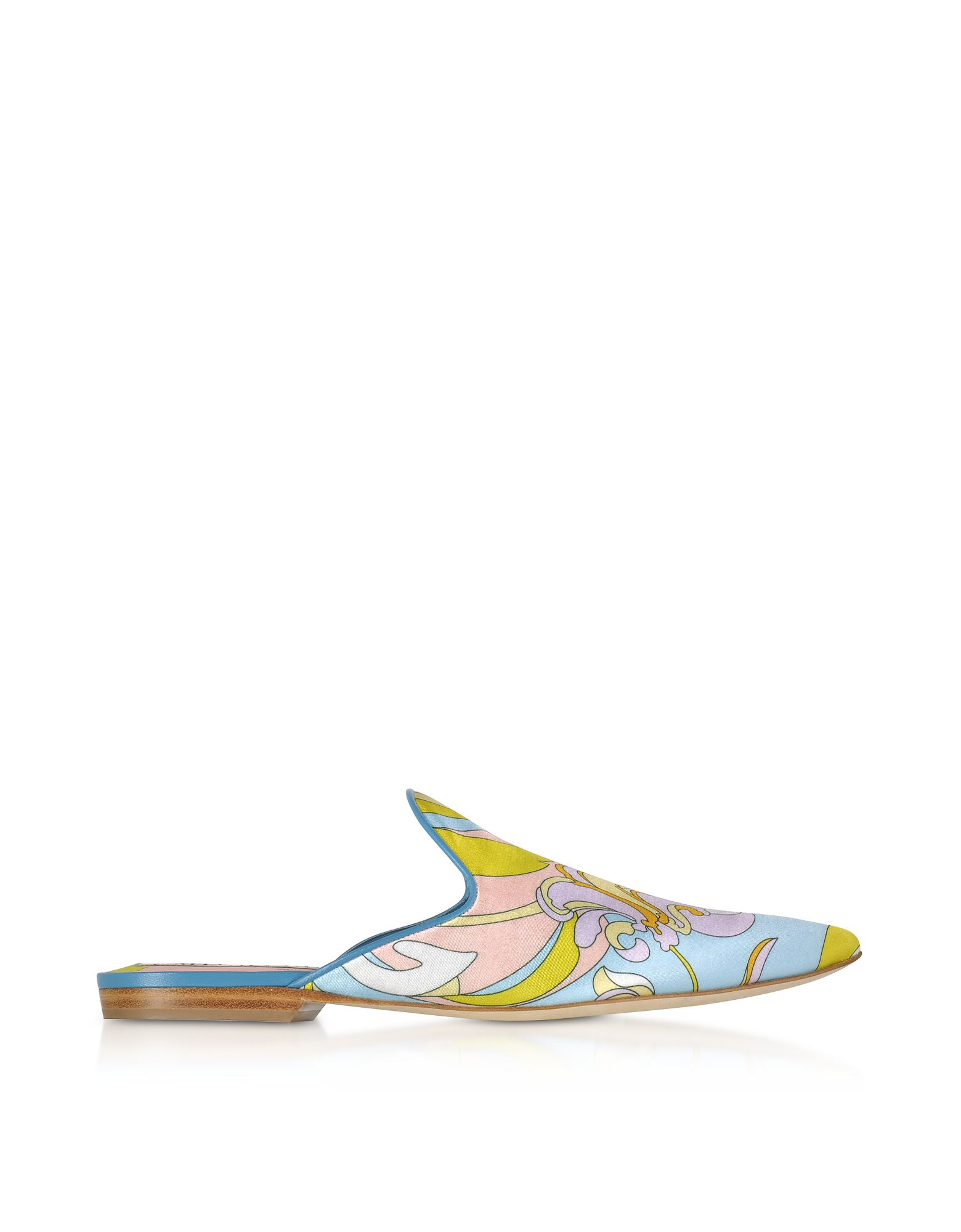 Emilio Pucci Shoes, Lemon Satin Printed Flat Mules