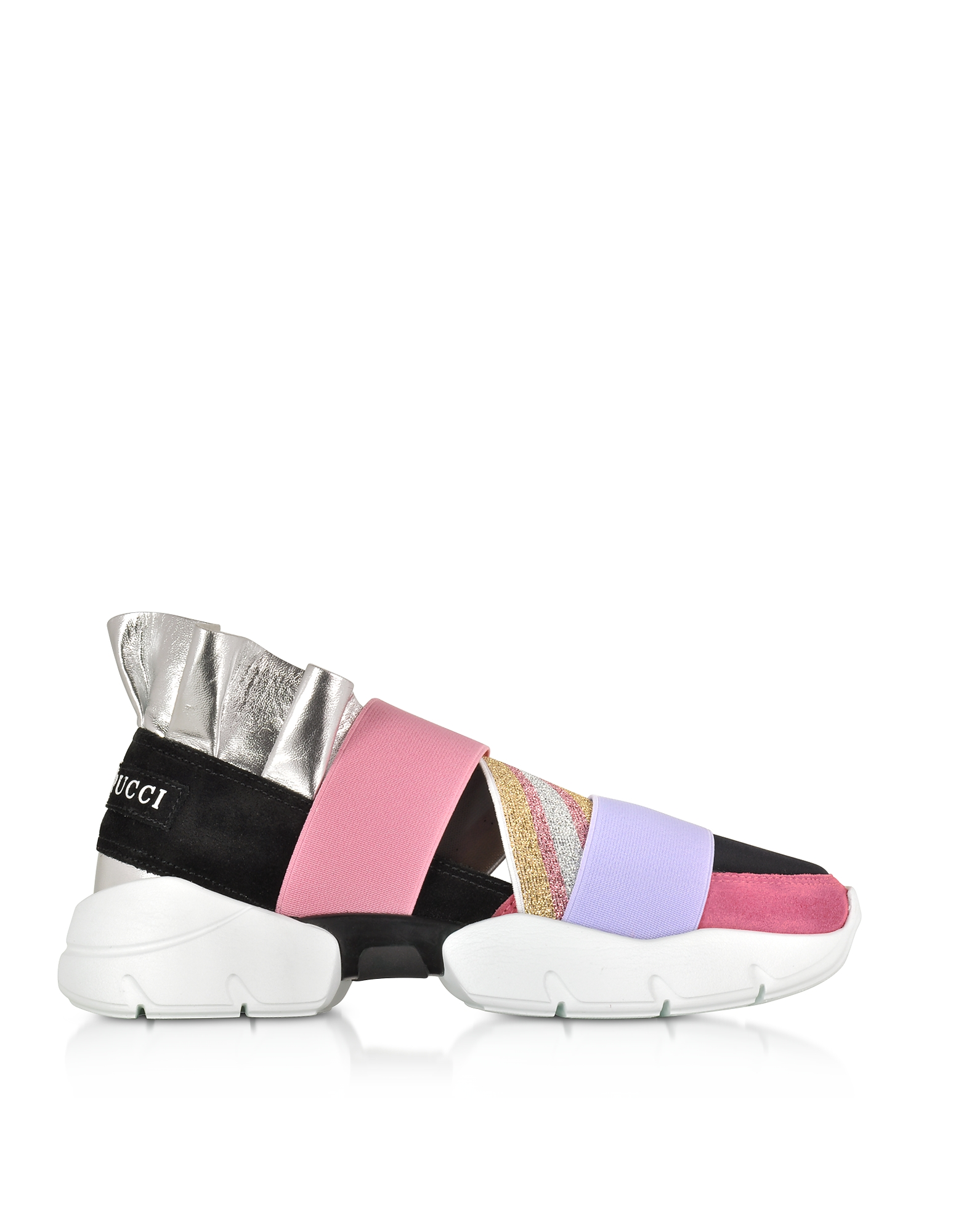 Emilio Pucci Shoes, Black and Lava Suede and Silver Metallic Leather Ruffle Sneakers