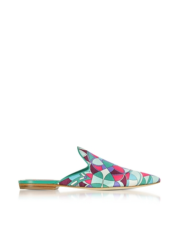 Optical Printed Leather Slippers pu430118-003-01