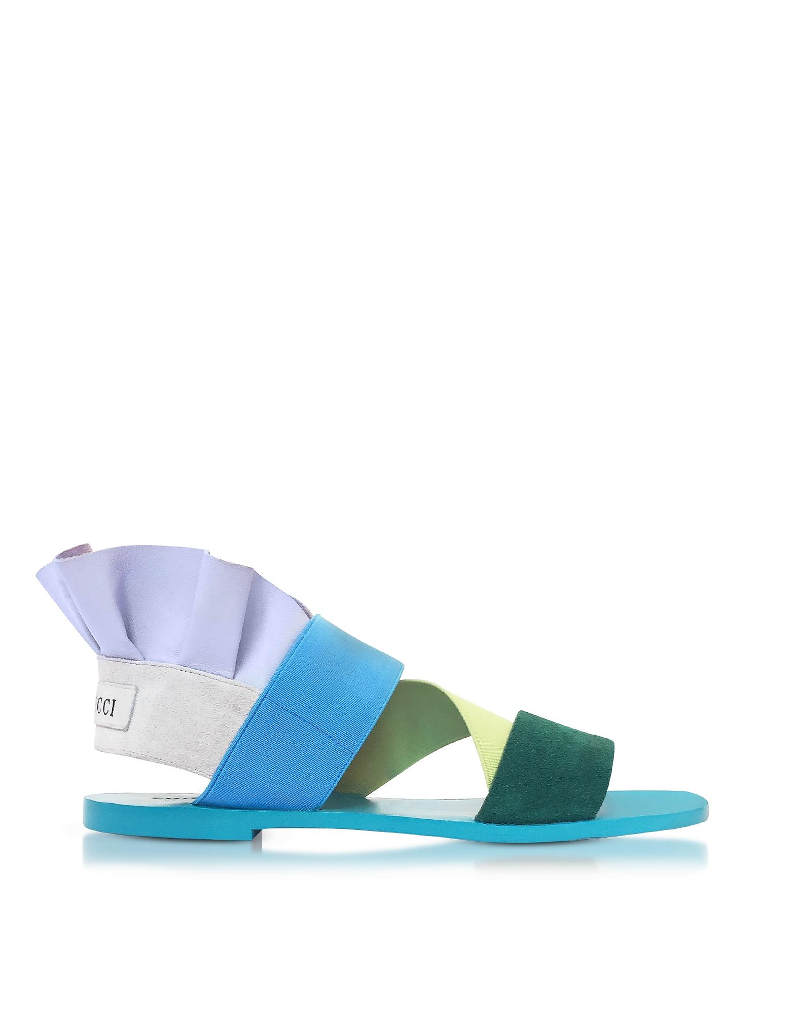 Emilio Pucci Shoes, Elastan and Suede Color Block Flat Sandals