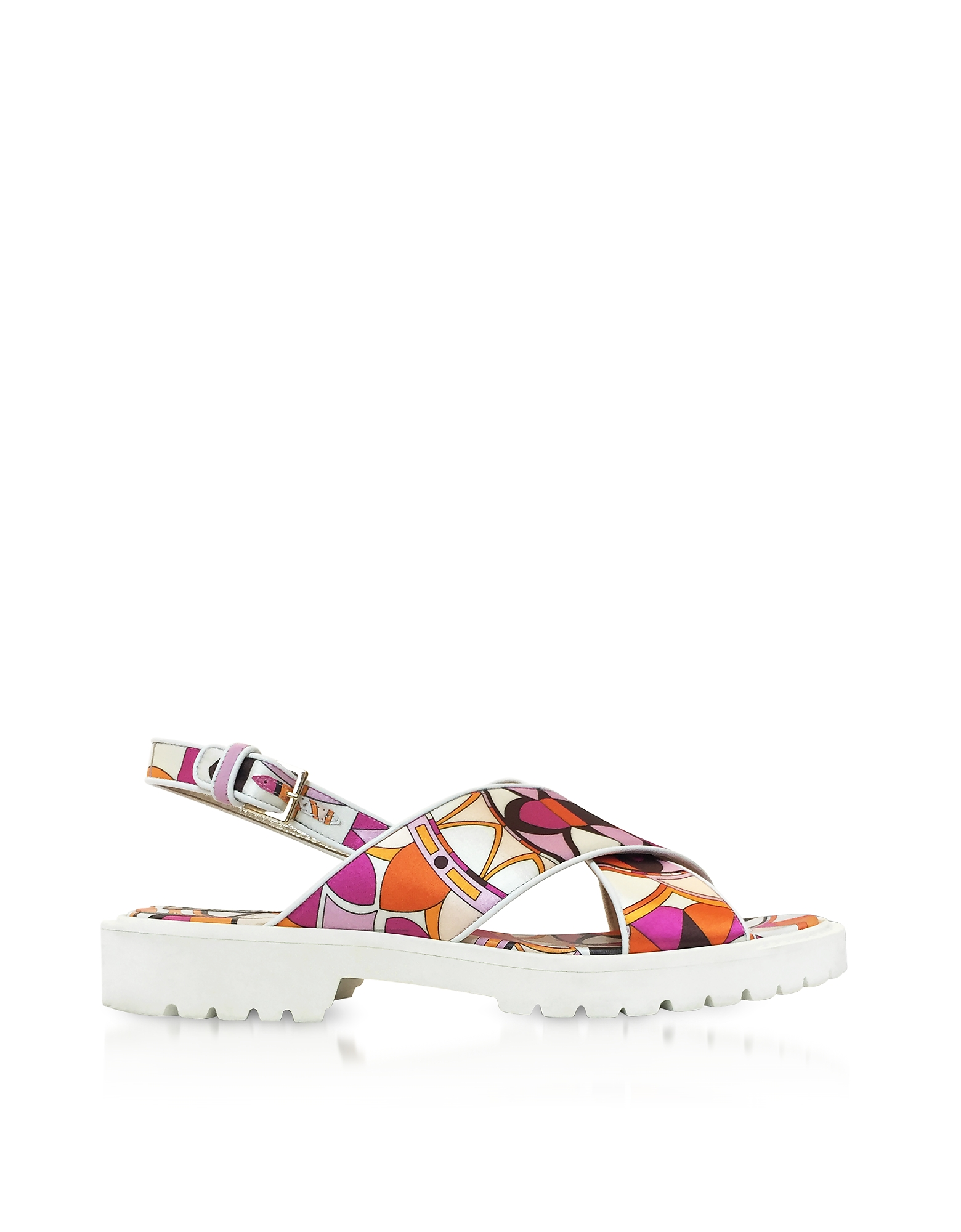 Emilio Pucci Shoes, Arenal Print Twill Silk Sandals
