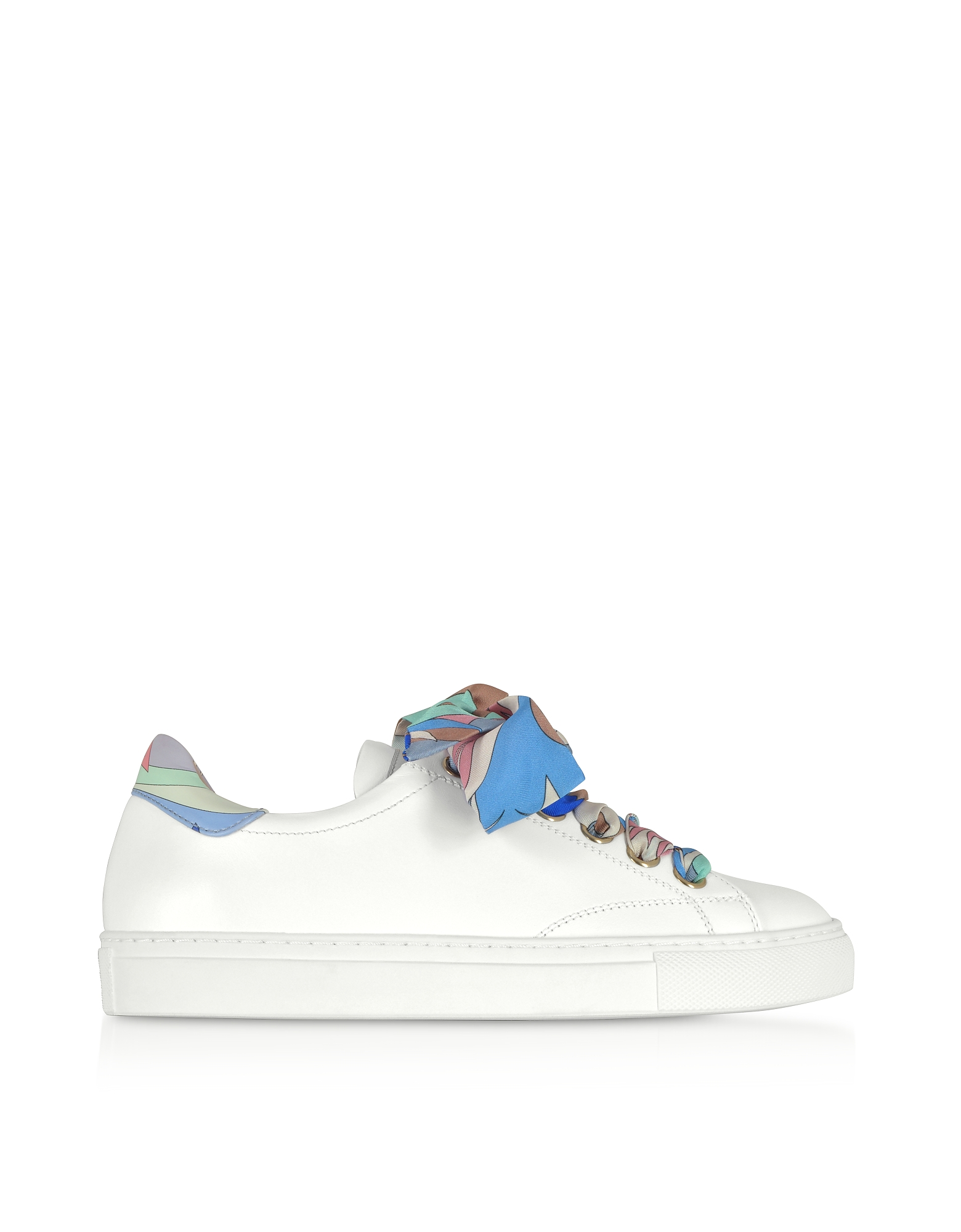 White Leather Low-top Sneakers w/Silk Printed Laces