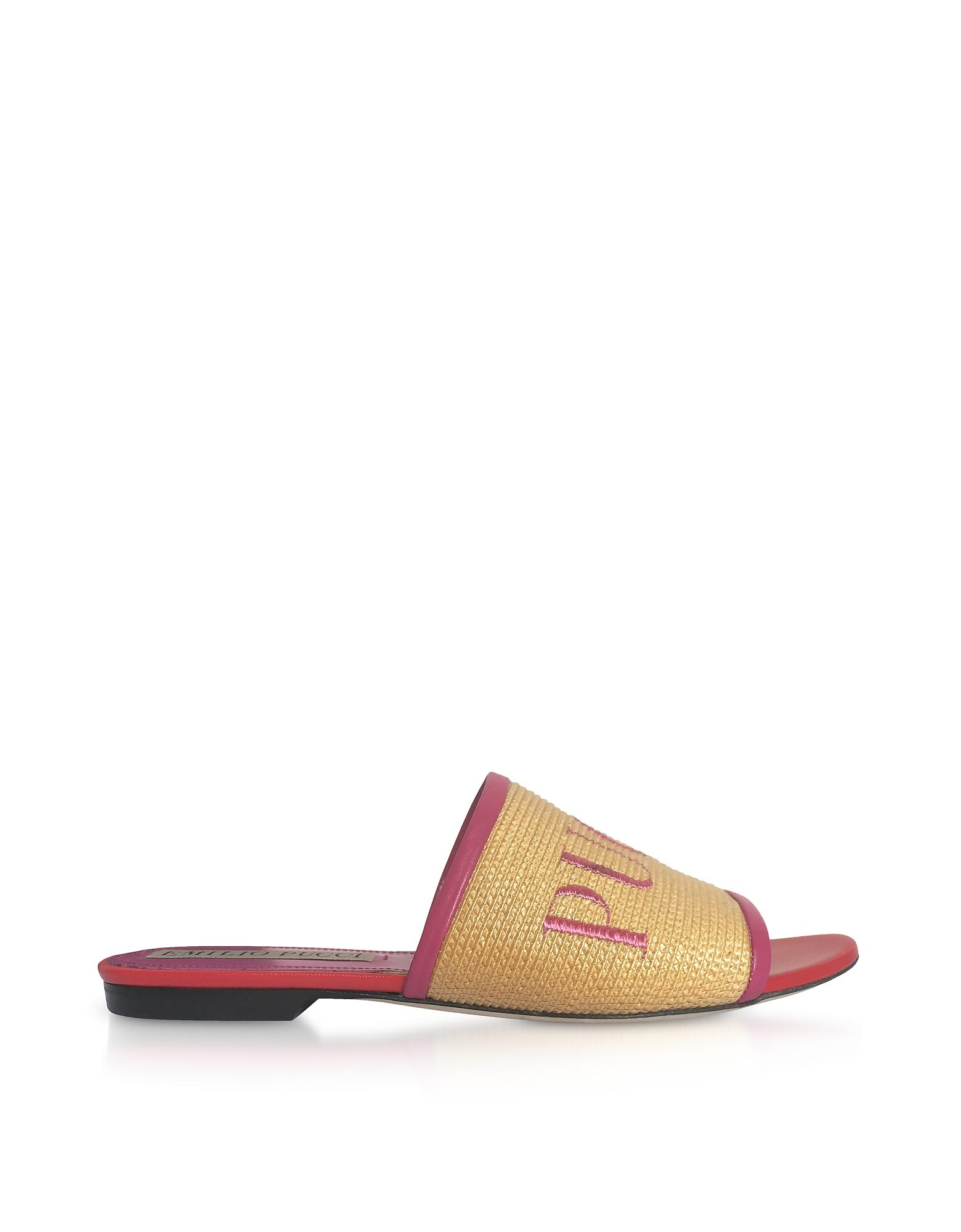 Emilio Pucci Shoes, Raffia & Leather Slipper w/Embroidered Logo