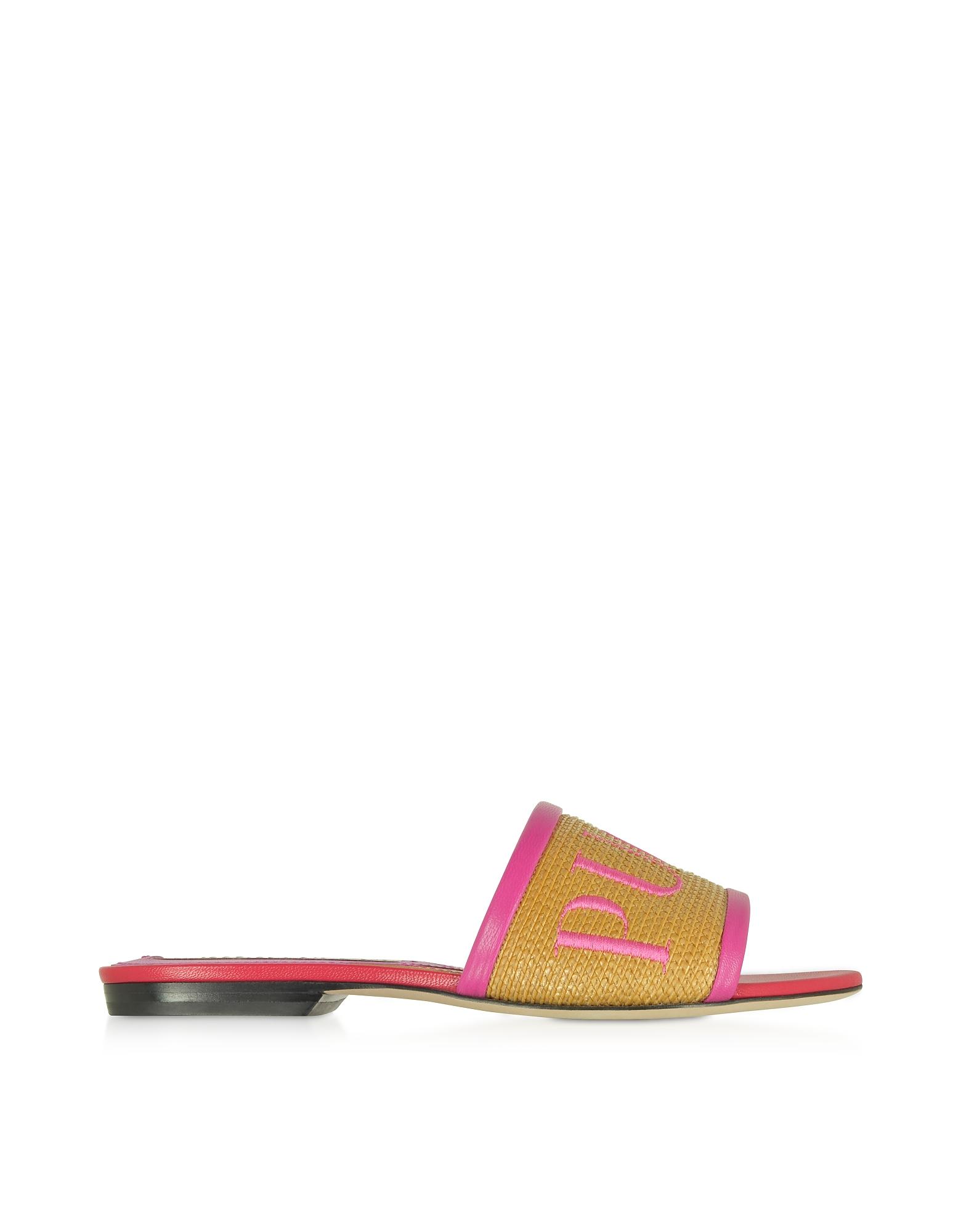 Emilio Pucci Designer Shoes, Raffia & Leather Slipper w/Embroidered Logo
