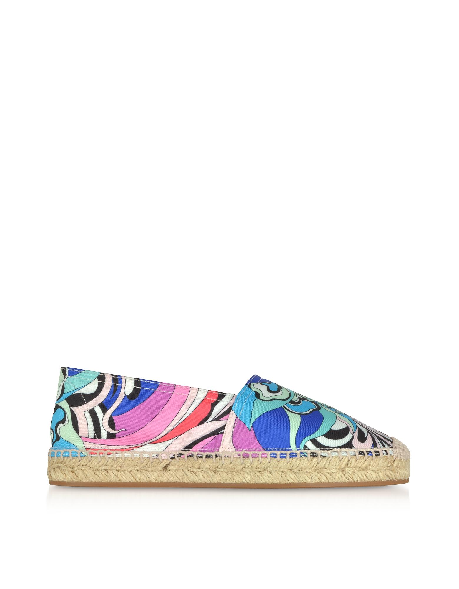 Emilio Pucci Shoes, Multicolor Printed Canvas Espadrilles