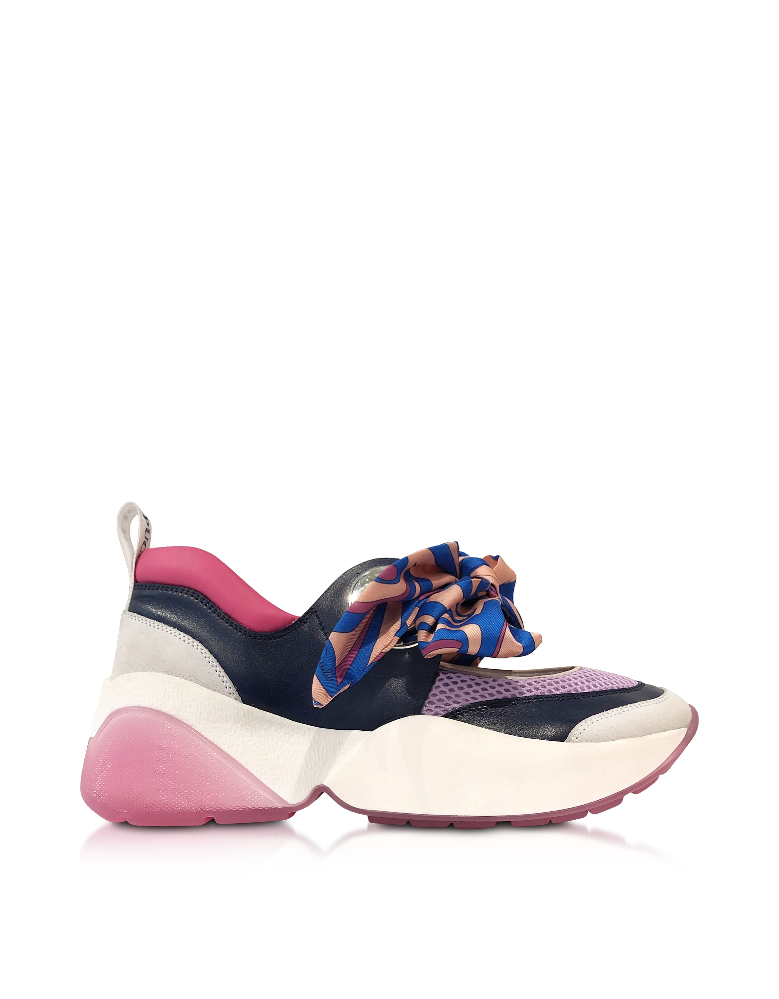 Multicolor Bow Blue and Lilac Sneakers