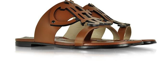 Ambra Leather Flat Slide