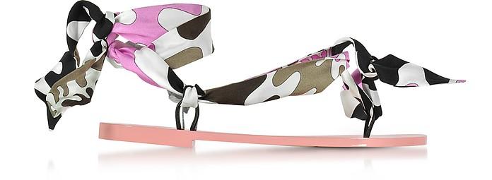 Dark Brown and Peonia Pink Silk Flat Sandals - Emilio Pucci