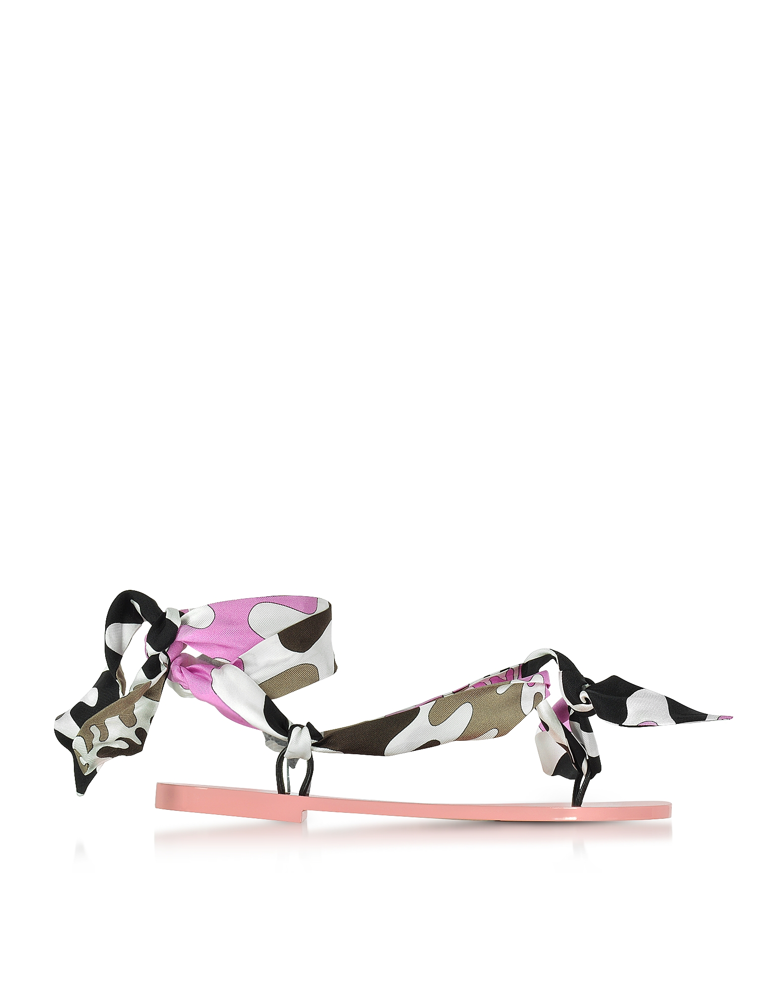 Emilio Pucci Shoes, Dark Brown and Peonia Pink Silk Flat Sandals