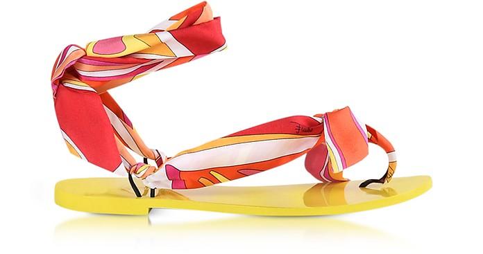 Fuchsia Printed Silk Flat Sandals - Emilio Pucci