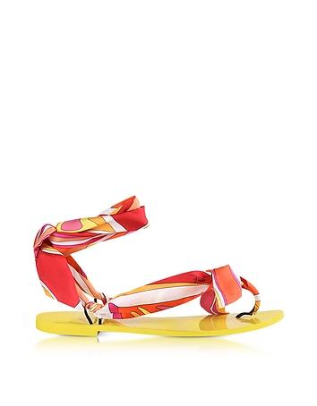 Emilio Pucci - Fuchsia Printed Silk Flat Sandals
