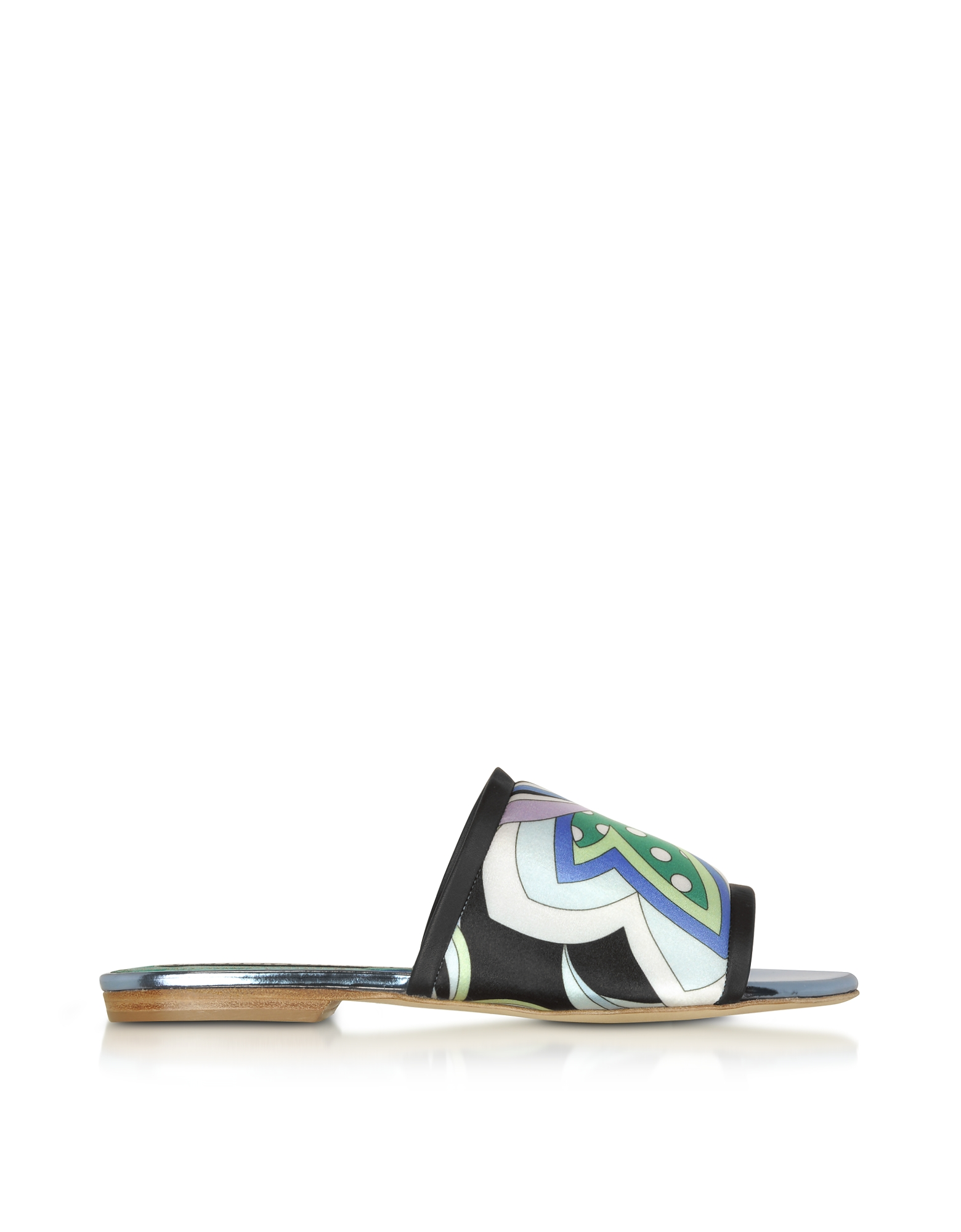 Emilio Pucci Shoes, Cornflower Printed Canvas and Leather Flat Slide Sandals