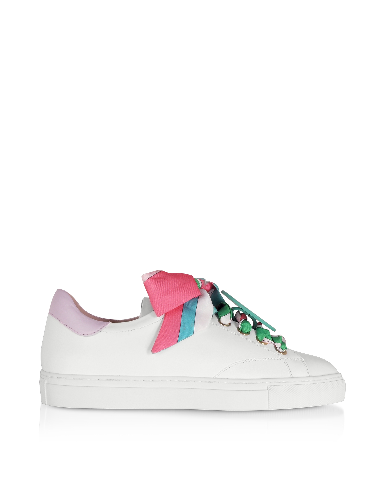 White/Lilac Leather Women's Sneakers