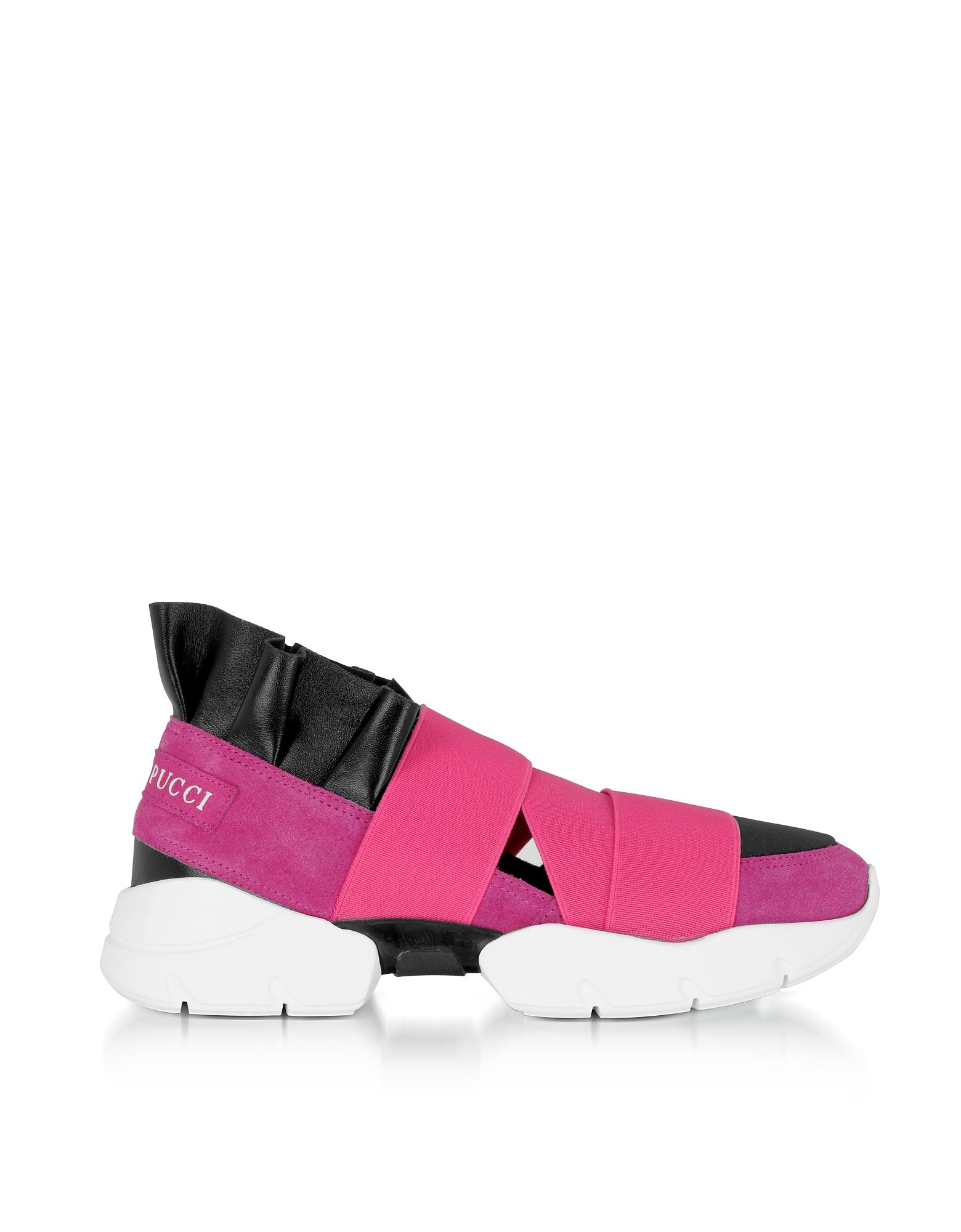 Emilio Pucci Shoes, Geranio Pink Suede Sneakers