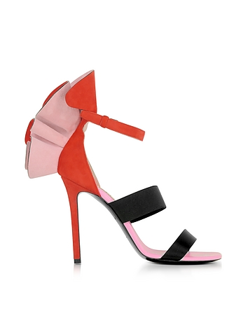 Emilio Pucci - Color Block Suede and Silk High Heel Sandals w/Ruffles