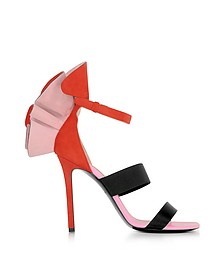 Color Block Suede and Silk High Heel Sandals w/Ruffles - Emilio Pucci