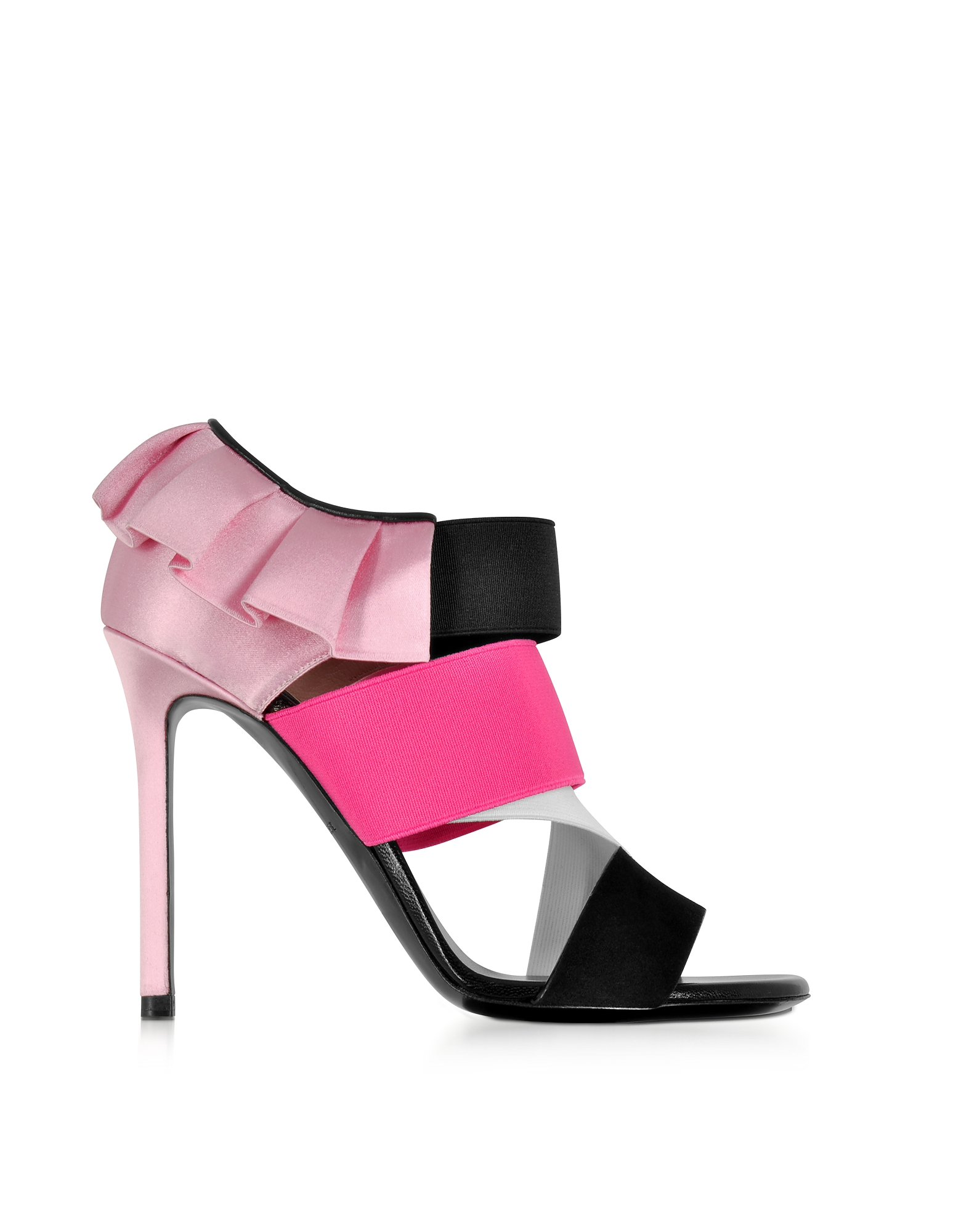 Emilio Pucci Shoes, Black, White and Fuchsia Suede and Silk High Heel Sandals