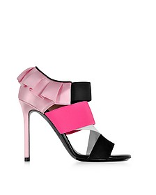 Black, White and Fuchsia Suede and Silk High Heel Sandals - Emilio Pucci