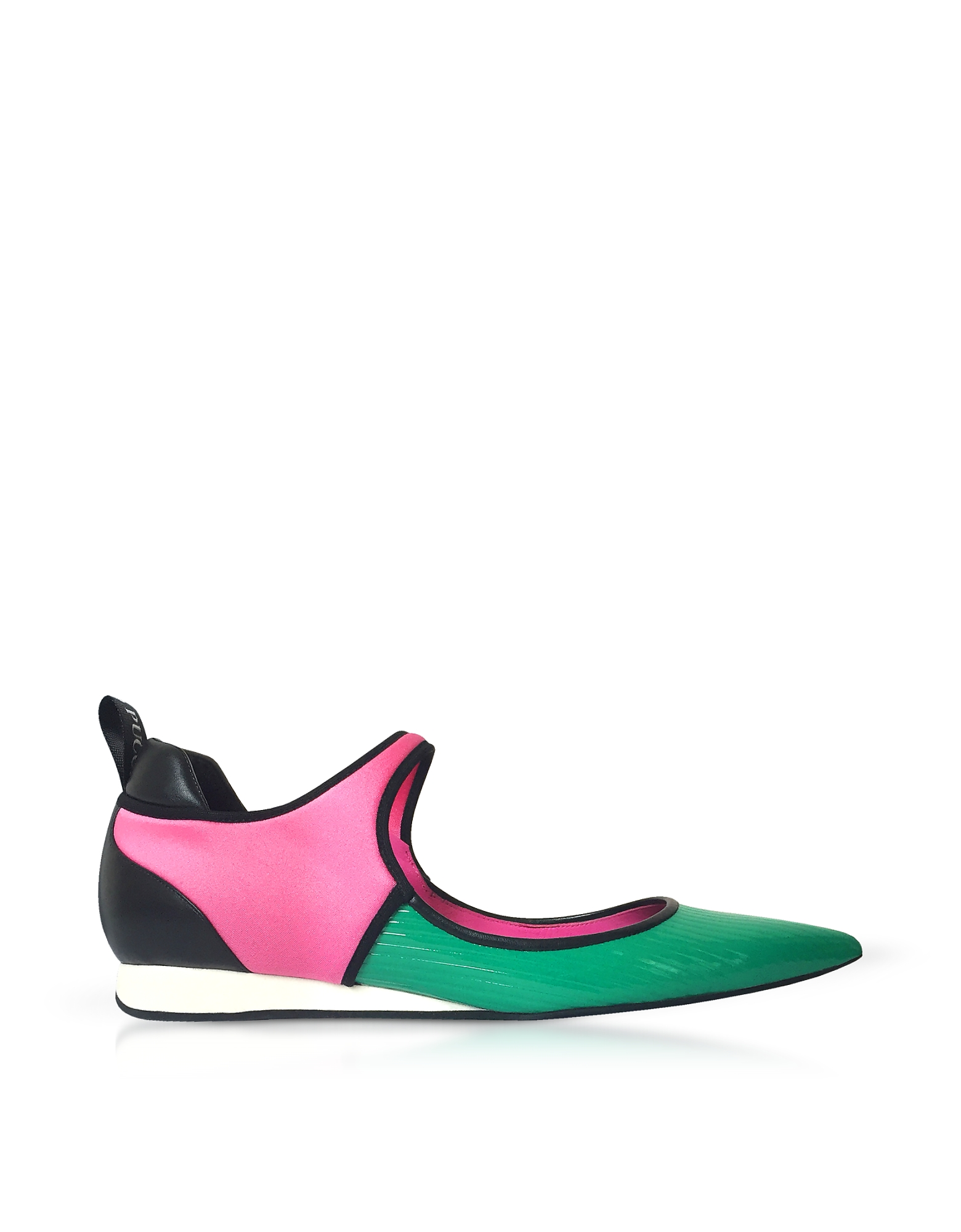 Color Block Leather Flat Ballerinas