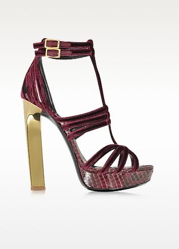 Barolo Velvet and Python Platform Sandals - Emilio Pucci