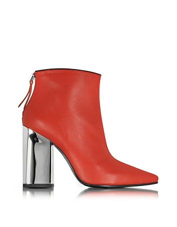 Cherry Red Leather Ankle Boot
