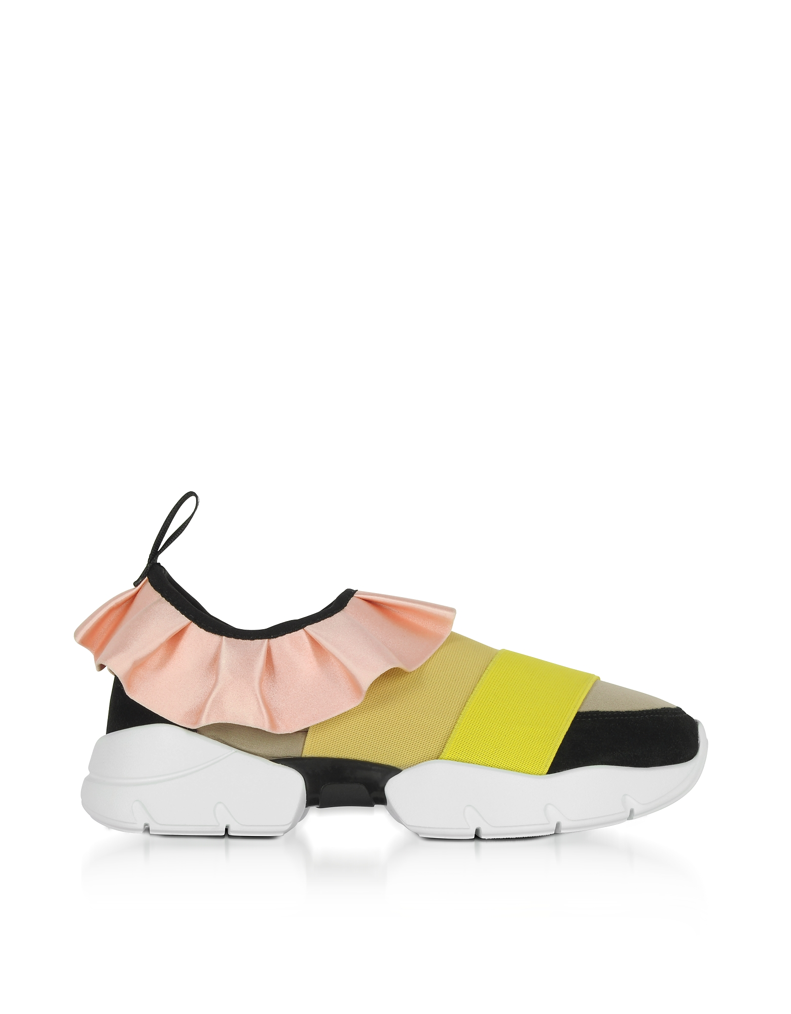 Emilio Pucci Shoes, Multi Pink/Mustard Tech Fabric and Silk Ruffle Sneakers