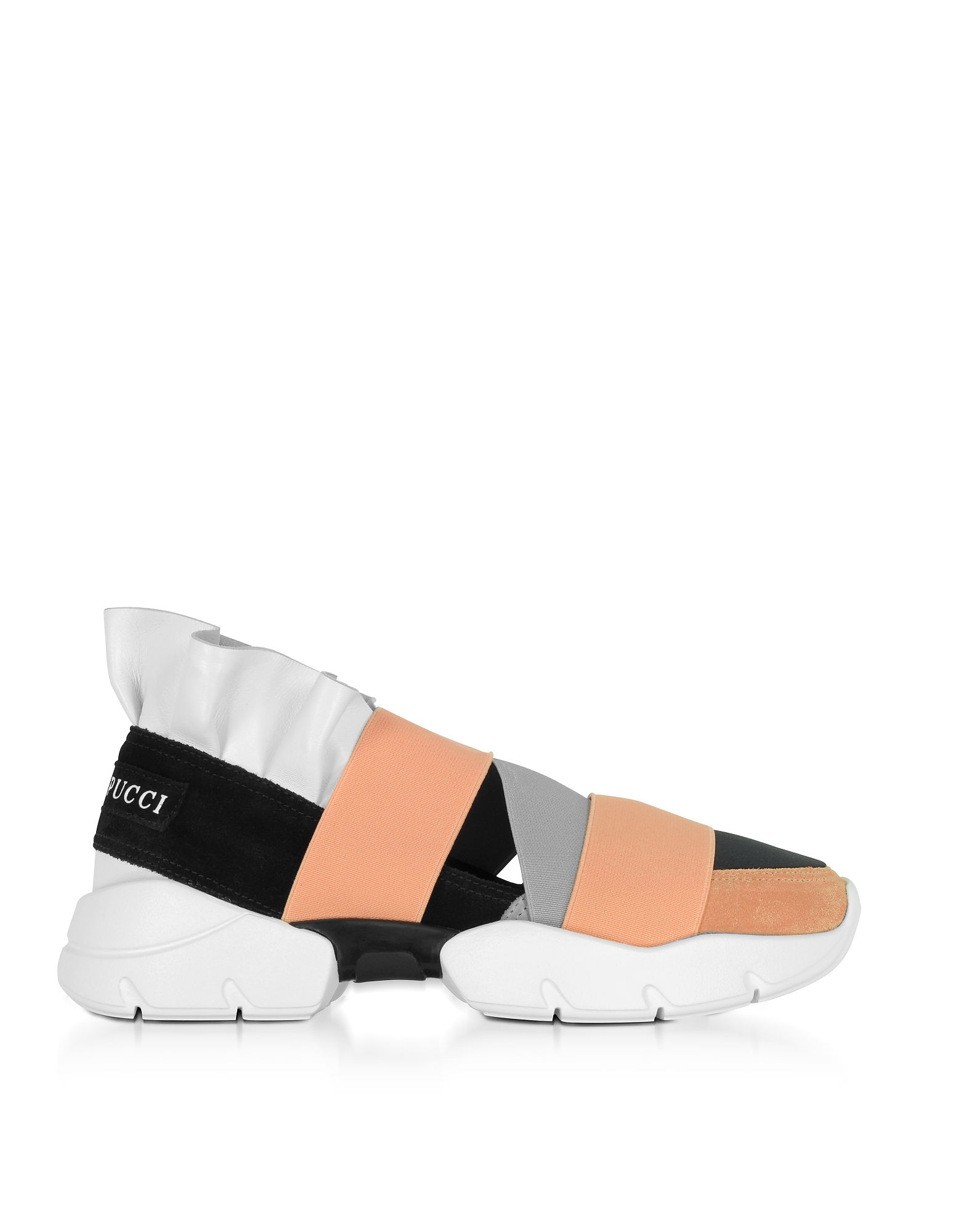 Emilio Pucci Shoes, Multi White, Black and Peach Suede and Leather Ruffle Sneakers