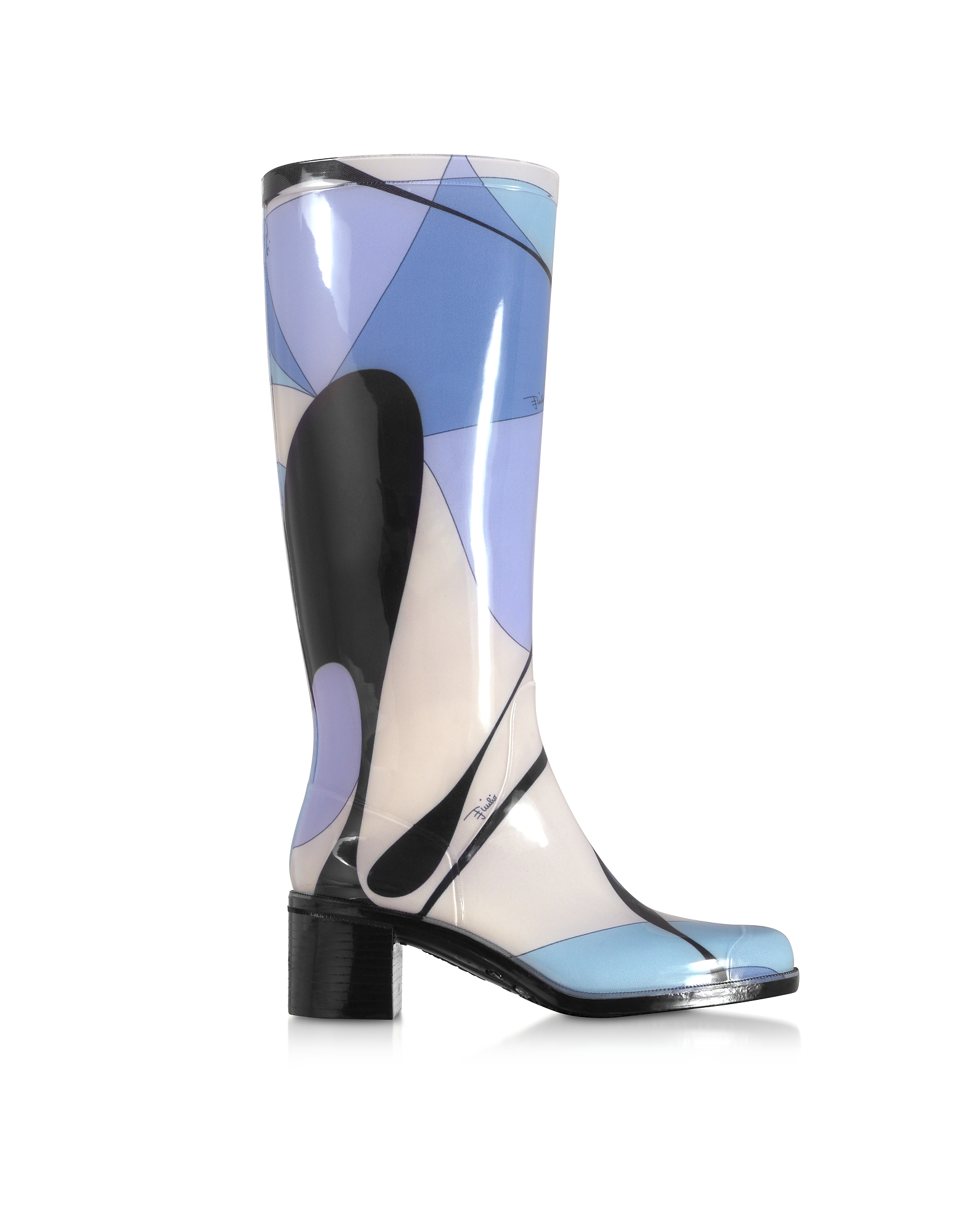 60s Shoes, Boots | 70s Shoes, Platforms, Boots Emilio Pucci  Shoes Light Blue Abstract Print Tall Rain Boots $231.50 AT vintagedancer.com