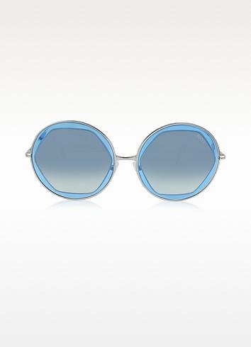 EP36 Large Round Acetate Transparent Women's Sunglasses - Emilio Pucci