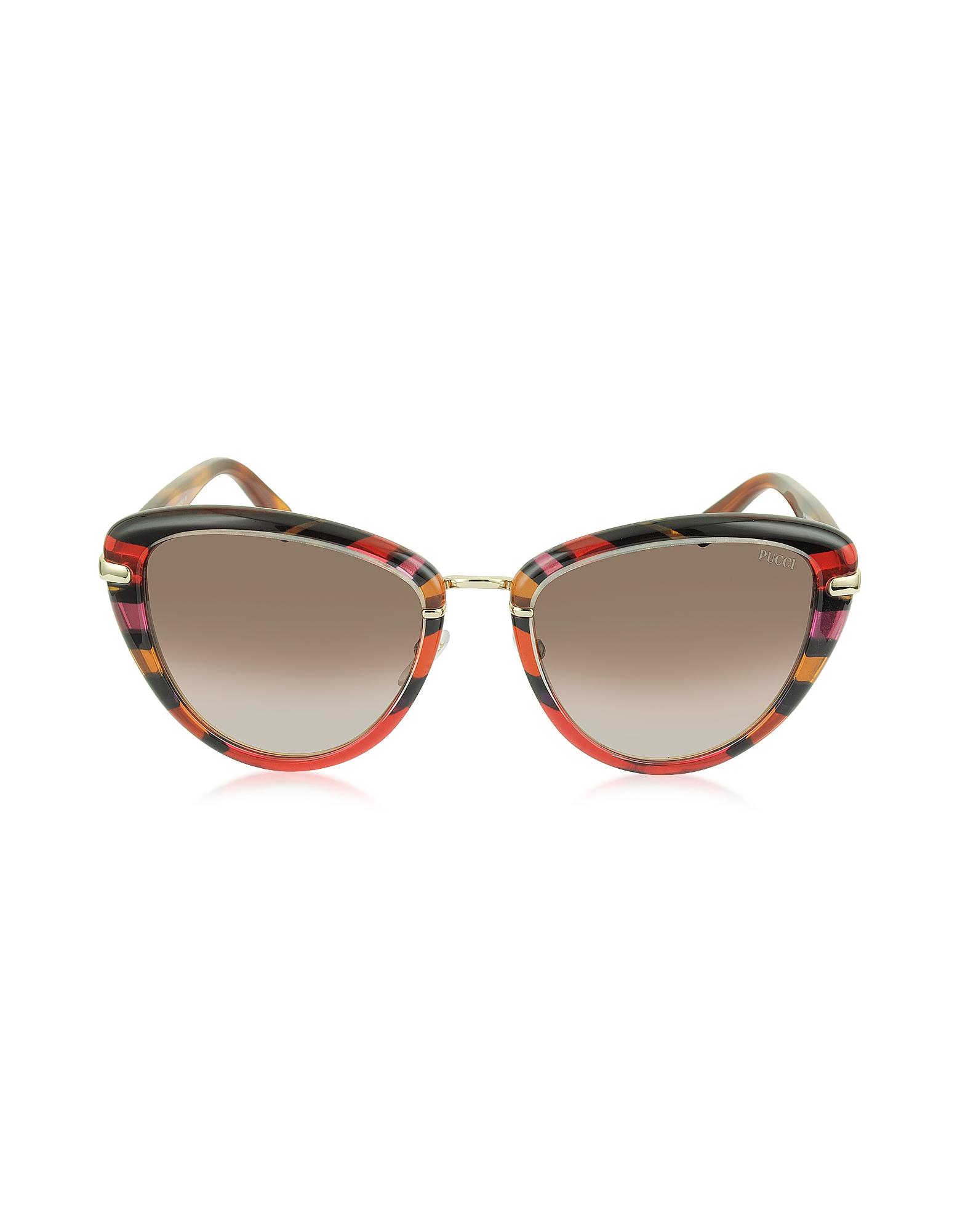 Emilio Pucci Sunglasses, EP0011 Fantasy Acetate Frame Cat Eye Sunglasses