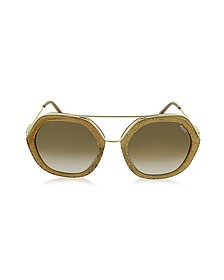 EP0014 Glitter Gold Metal & Acetate Round Sunglasses
