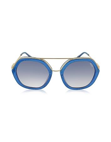 Emilio Pucci - EP0014 Glitter Gold Metal & Acetate Round Sunglasses