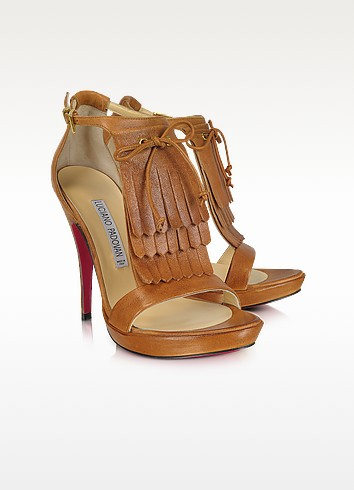 棕色皮革流苏装饰高跟凉鞋 - Luciano Padovan 帕多凡