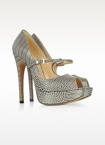 Gray Croco-Embossed Leather Peep-Toe Pump - Luciano Padovan