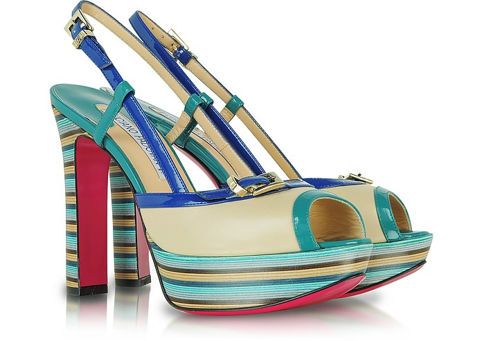 Color Block Leather Platform Sandal - Luciano Padovan