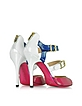 White, Blue and Fuchsia Patent Leather Sandal - Luciano Padovan