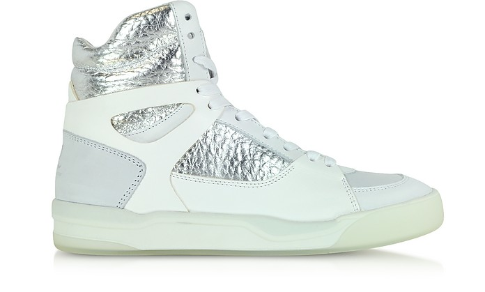 McQ Move Mid Women White and Silver Leather Sneaker - McQ Alexander McQueen x Puma