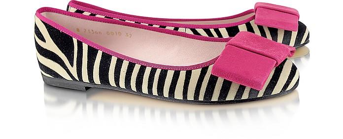 Zebra Stripe Suede Ballerina Shoes - Pretty Ballerinas