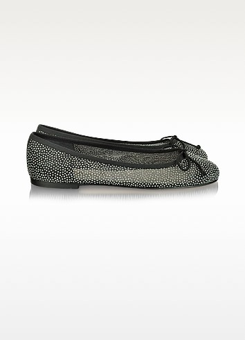 Glittery Mesh and Leather Ballerina Shoes - Pretty Ballerinas