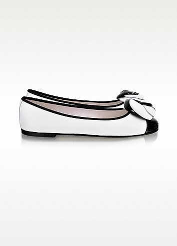 Black and White Leather Ballerina Shoes - Pretty Ballerinas