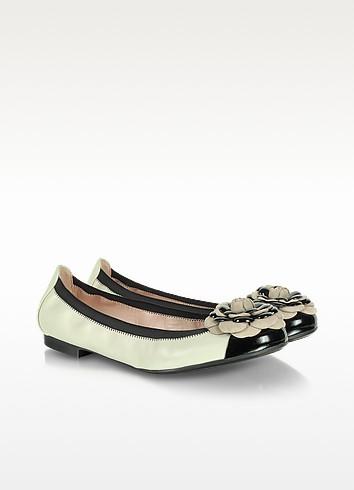 Shirley Black and Cream Leather Ballerina - Pretty Ballerinas