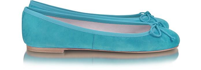 Turquoise Suede Ballerina Shoes - Pretty Ballerinas
