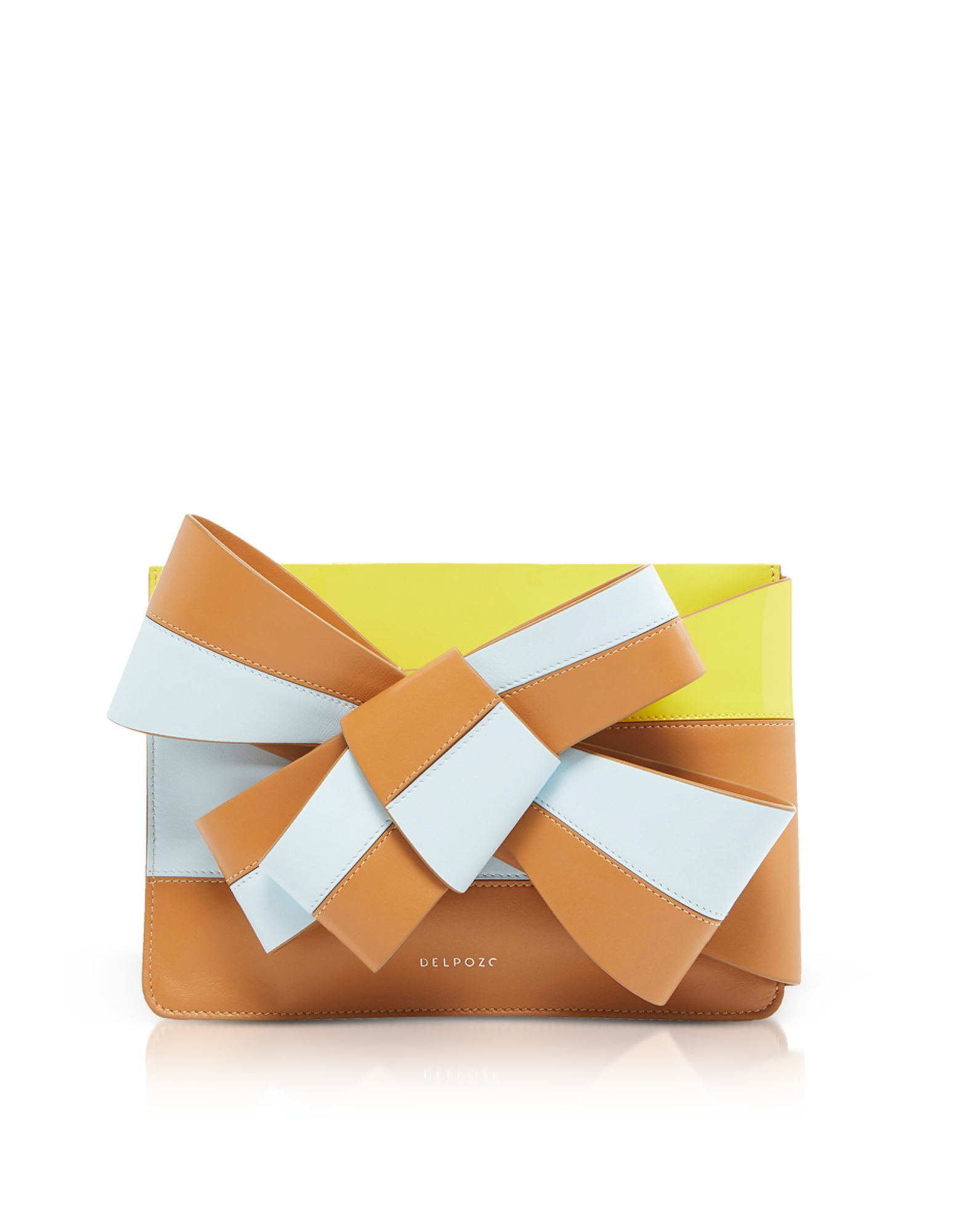 Bow Clutch in Pelle Color Block con Fiocco