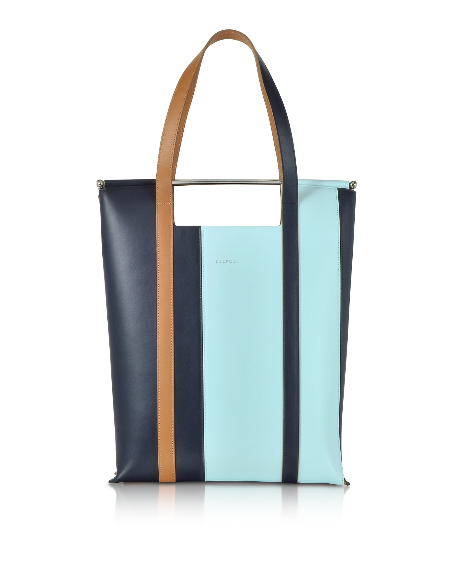 Image of Delpozo Designer Handbags, Vertical Striped Patent Leather and Calfskin Great Tote with Handles